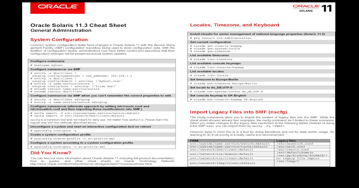 Oracle Solaris 11 3 Cheat Sheet