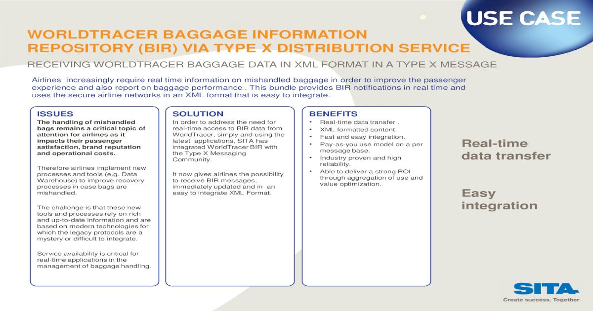 WORLDTRACER BAGGAGE INFORMATION REPOSITORY     - Home   SITA