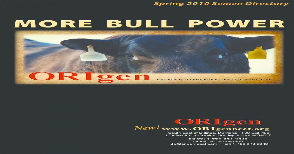 Origen sire directory 2010