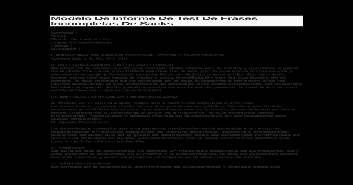 Modelo De Informe De Test De Frases Incompletas De Sacksdocx
