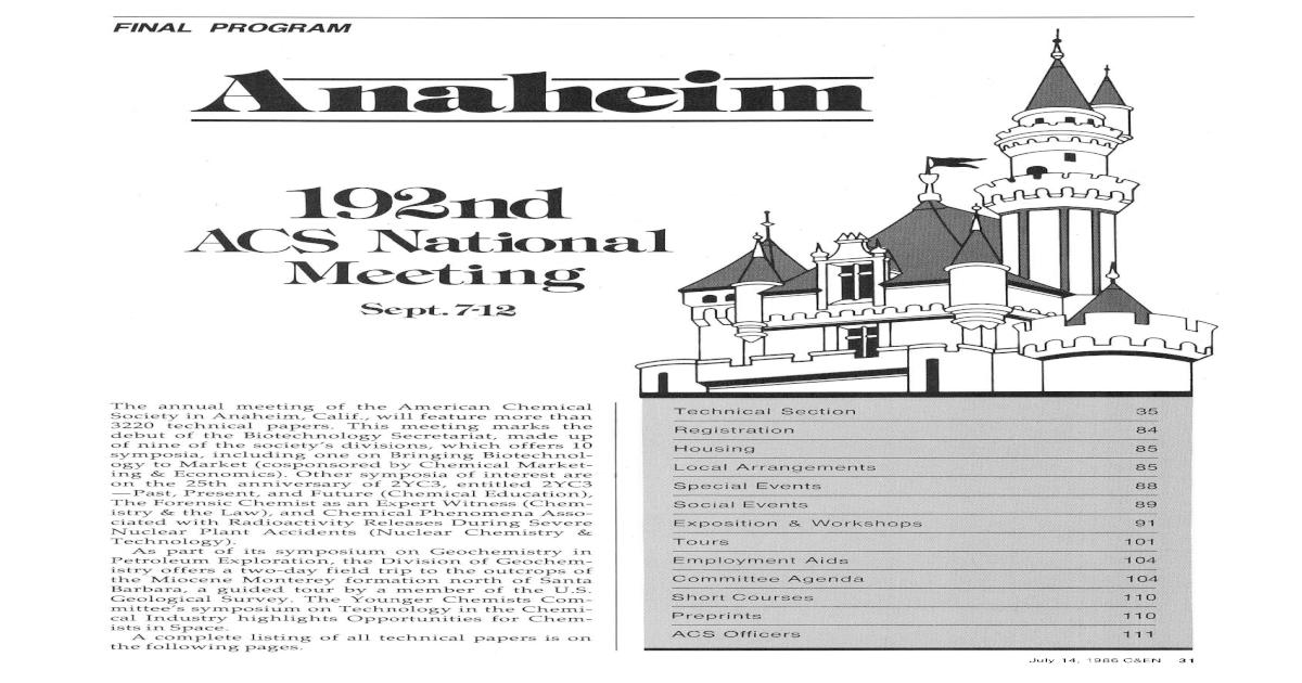 Anaheim 192nd Acs National Meeting Sept 7 12