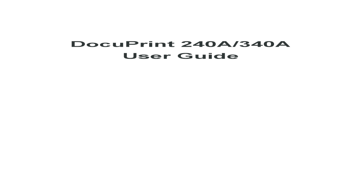 DRIVER UPDATE: DOCUPRINT 240A AP