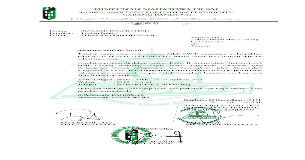 Proposal Lk Ii Hmi Cabang Bandung
