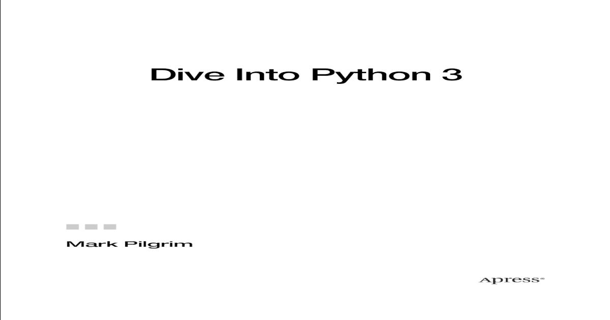 Dive Into Python 3 ||