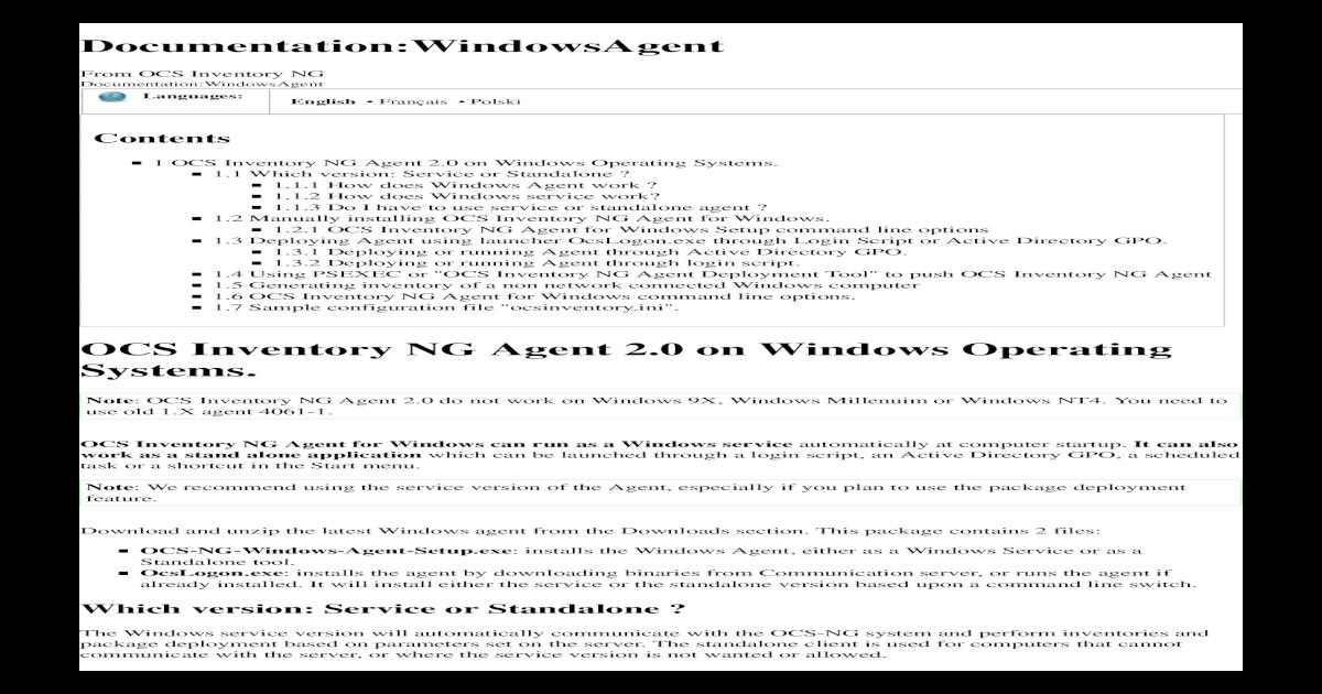 WINDOWS PACKAGER OCSNG TÉLÉCHARGER