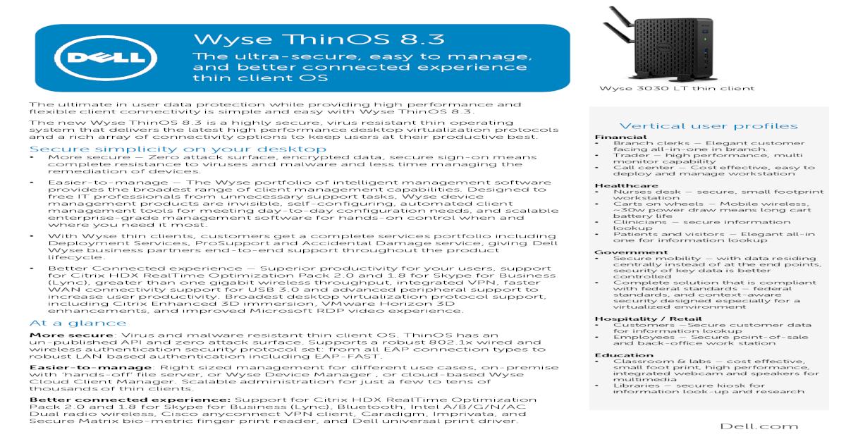 Wyse ThinOS 8 - CompTek nbsp
