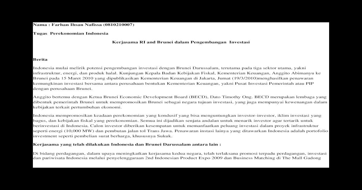 Perdagangan dan kerjasama Indonesia dan Brunei,Ekspor impor
