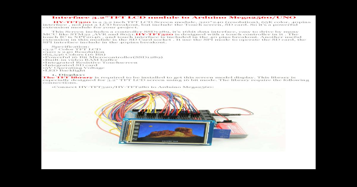 Interface 3 2 TFT LCD module to Arduino Mega2560/ Interface 3 2TFT