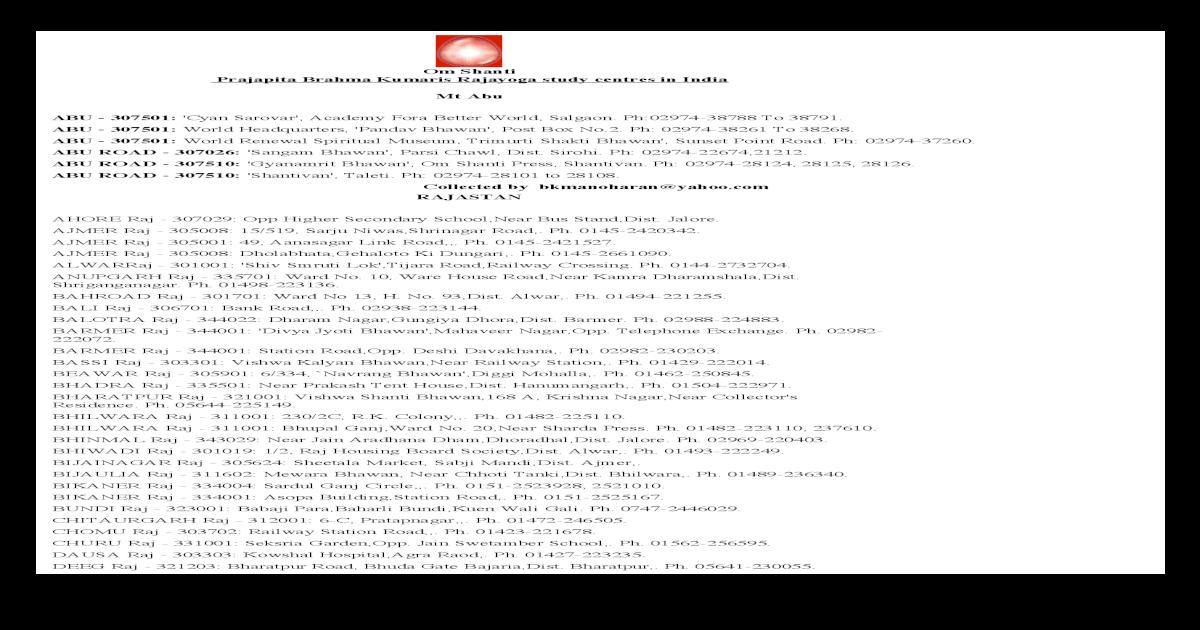 Om Shanti Prajapita Brahma Kumaris Rajayoga Contact lists