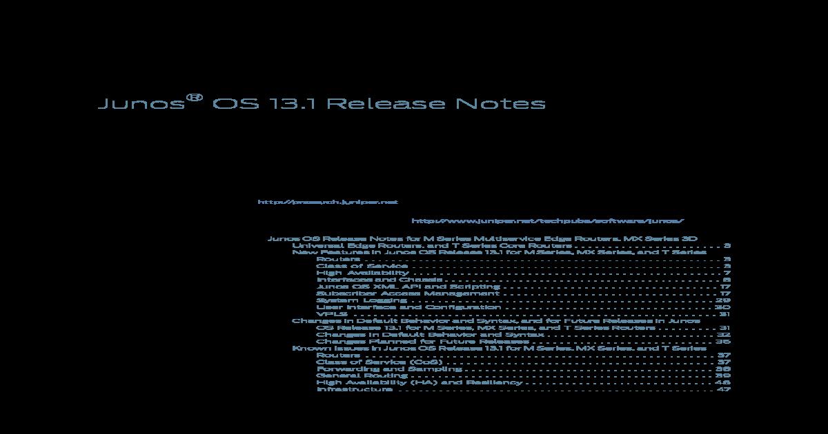 Junos Release Notes 13 1