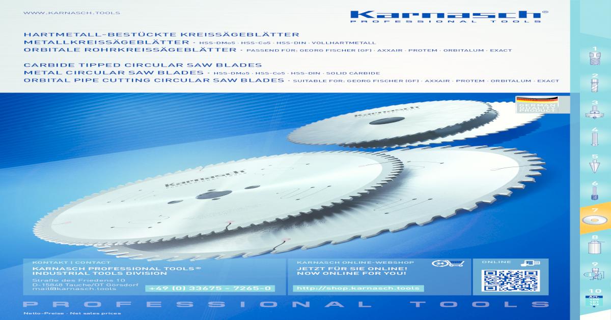 HSS-DMo5 Orbitale Rohrkreissägeblätter für: Georg Fischer Axxair GF Protem,