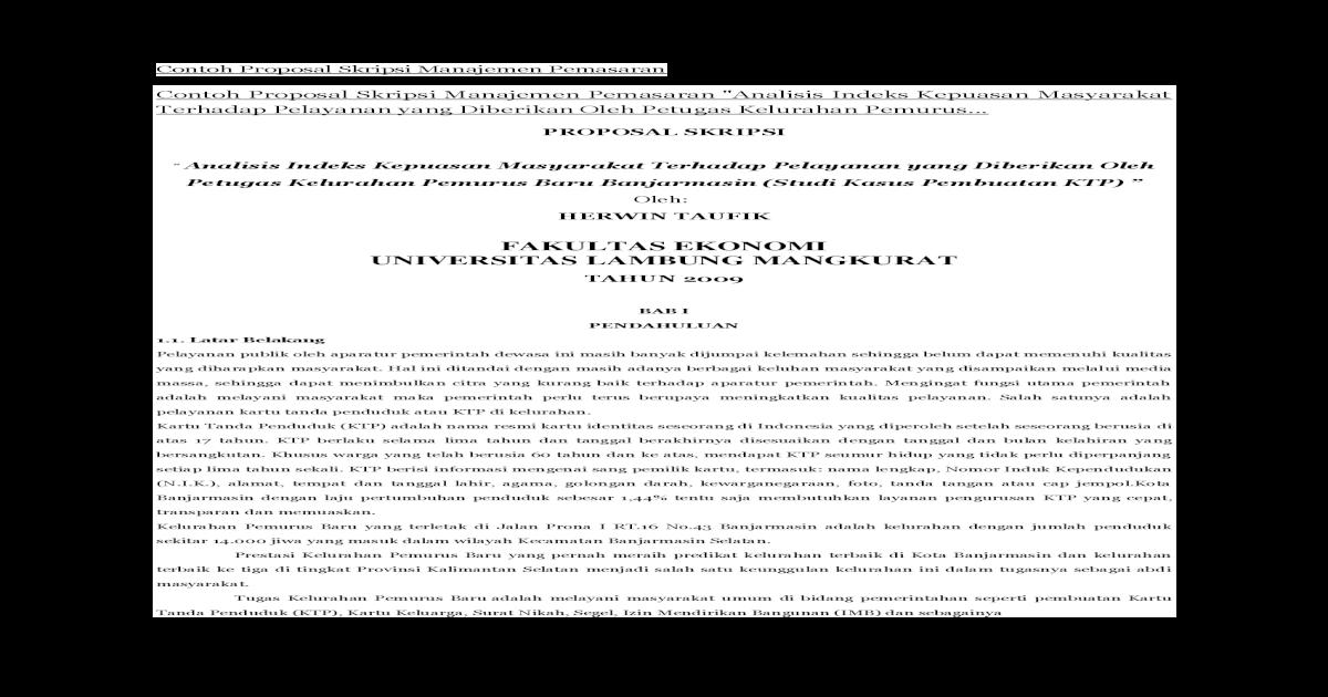 Contoh Proposal Skripsi Manajemen Pemasaran Analisis Manajemen