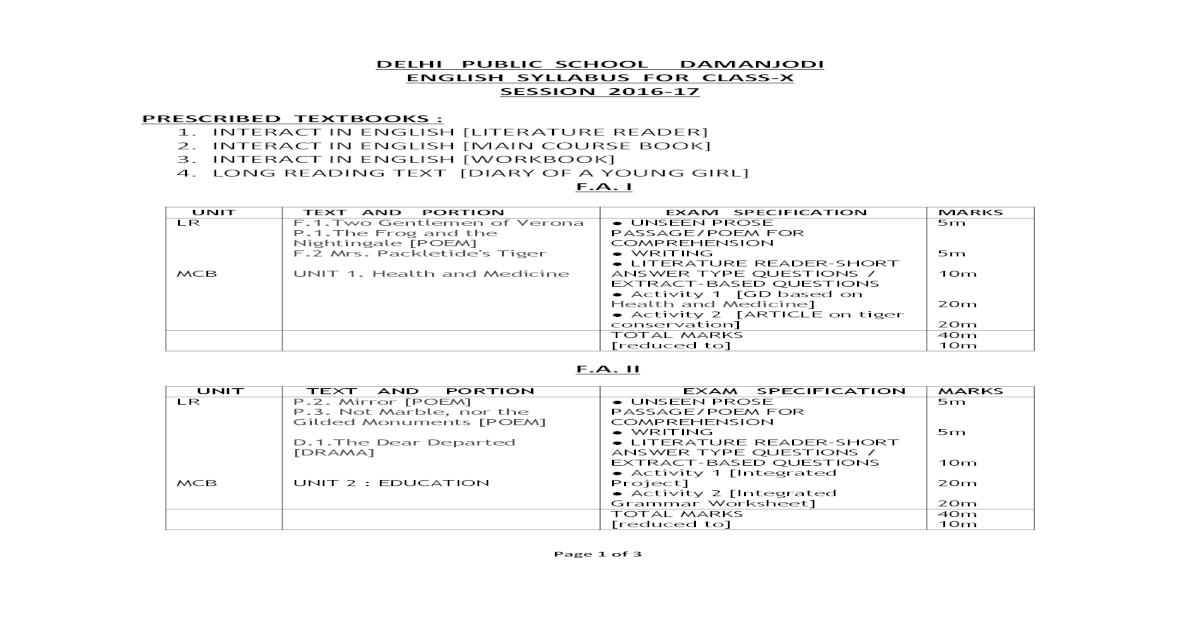 DELHI PUBLIC SCHOOL DAMANJODI ENGLISH SYLLABUS FOR CLASS