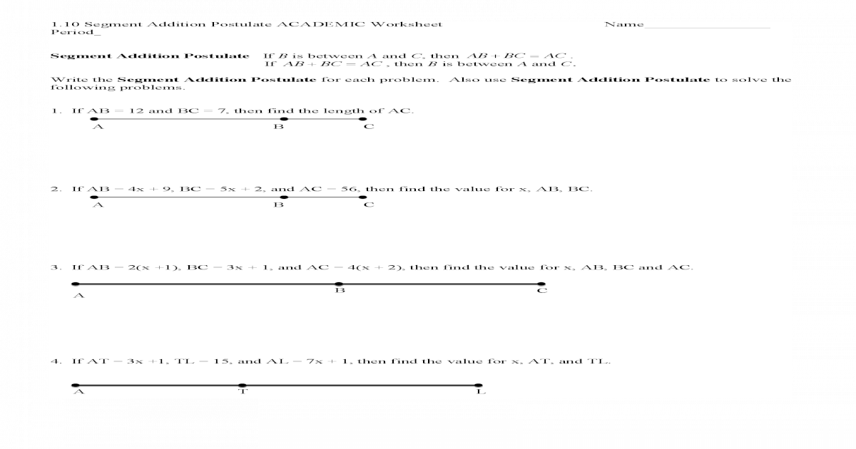 1 10 Segment Addition Postulate ACADEMIC Worksheet Segment