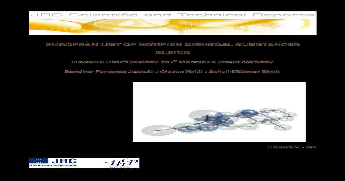 EUROPEAN LIST OF NOTIFIED CHEMICAL 23923 EN - 2009 EUROPEAN LIST OF