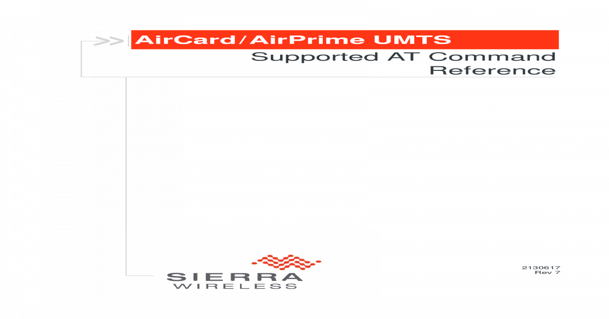 AirCard/AirPrime UMTS Supported AT Command Reference