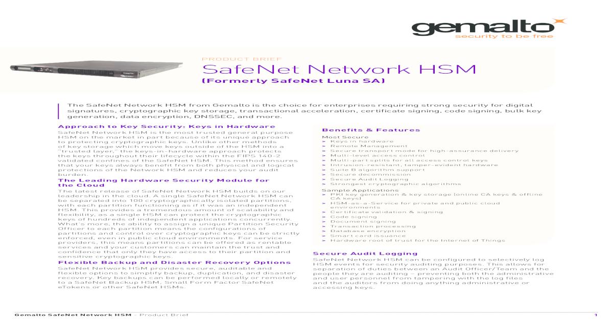 SafeNet Network HSM Product Brief - Gemalto