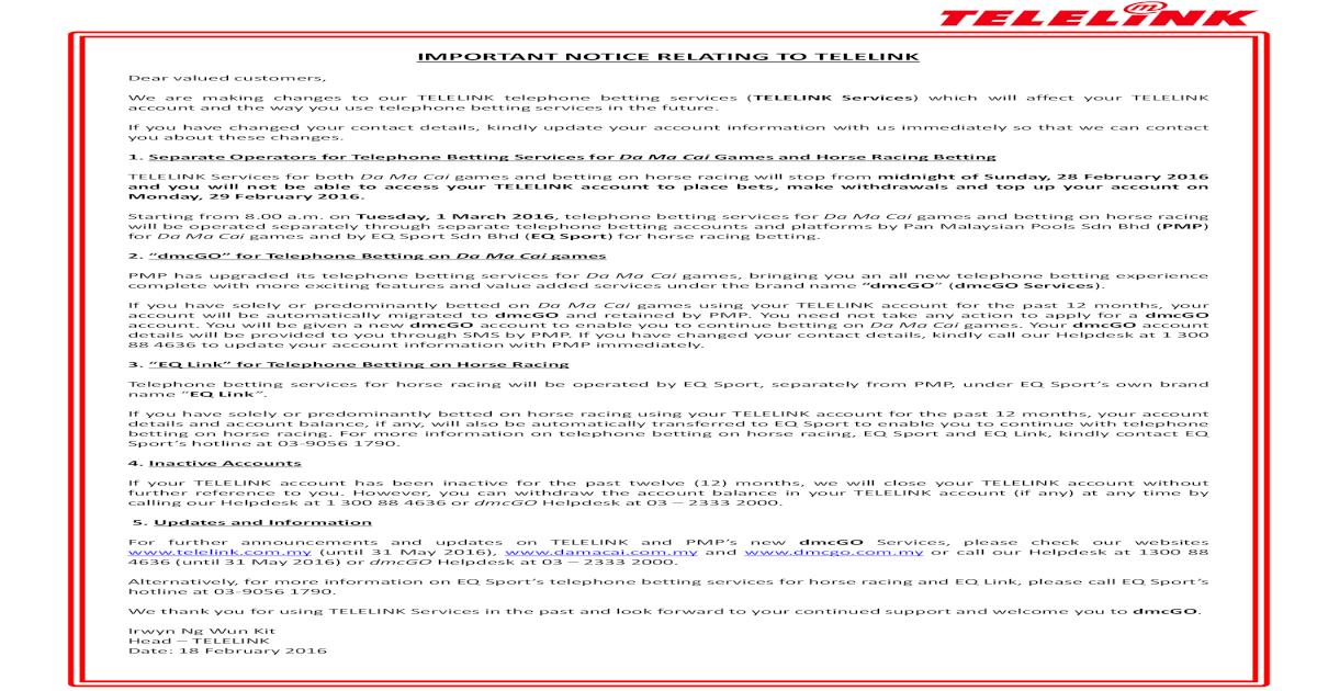 Telelink Cessation Notice