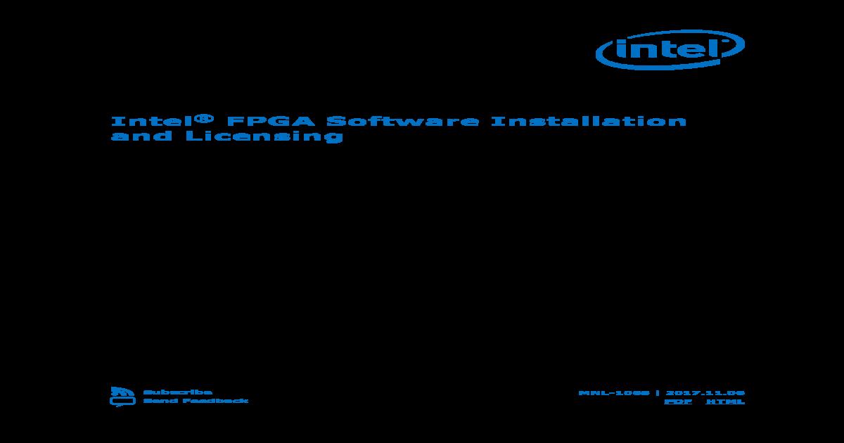 Intel FPGA Software Installation and Licensing manual