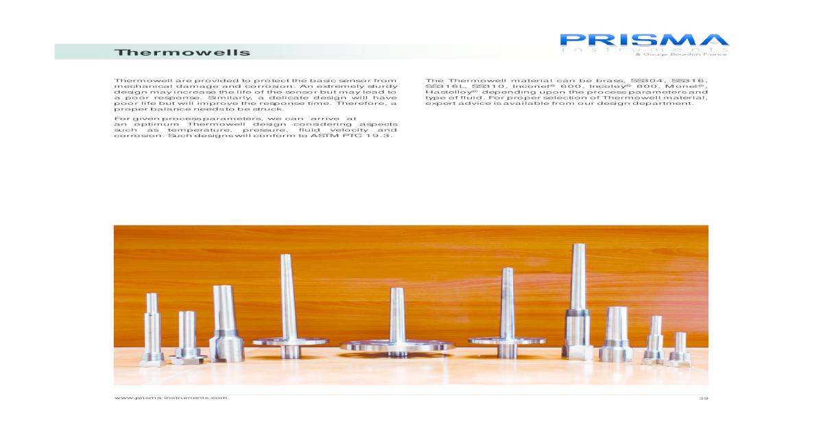 Thermowells - Prisma PDF EN    Various Types of Thermowells
