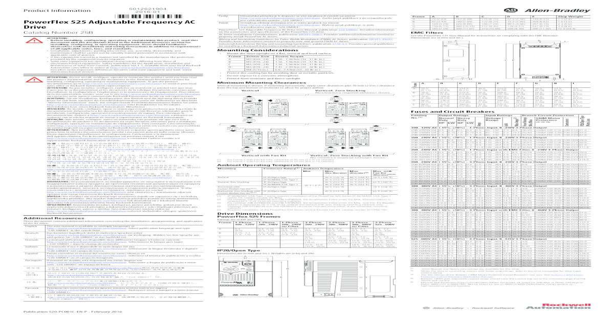 520-PC001D-EN-P PowerFlex 525 Adjustable Frequency AC     Puede