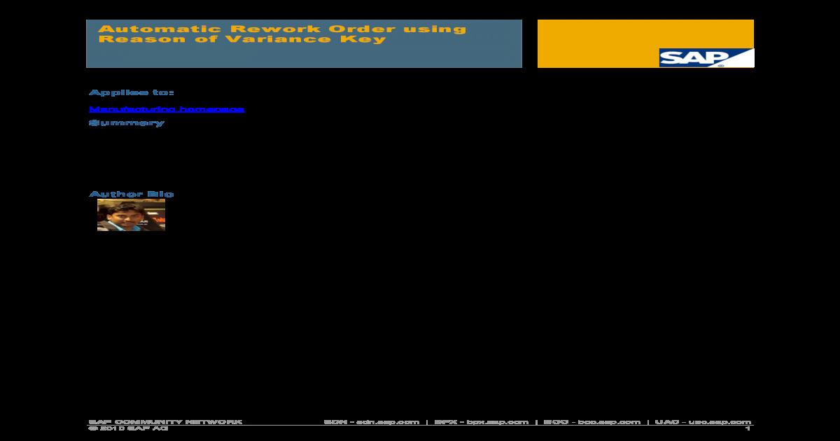 Automatic Rework Order using Reason of Variance key - Rework