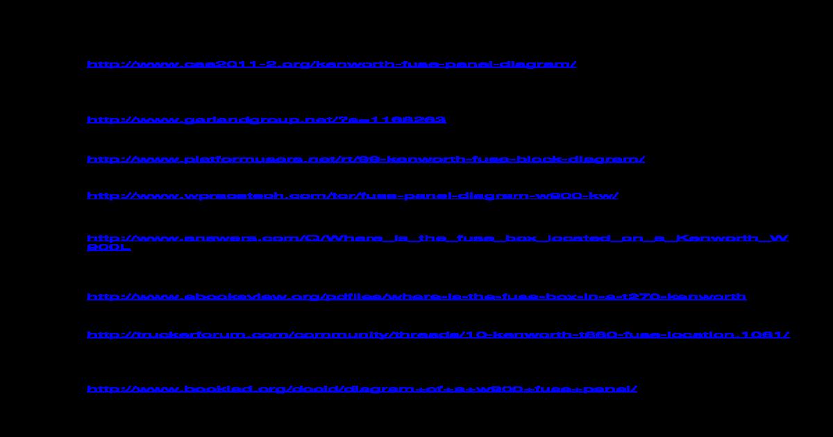 Kenworth T660 Fuse Panel Diagram