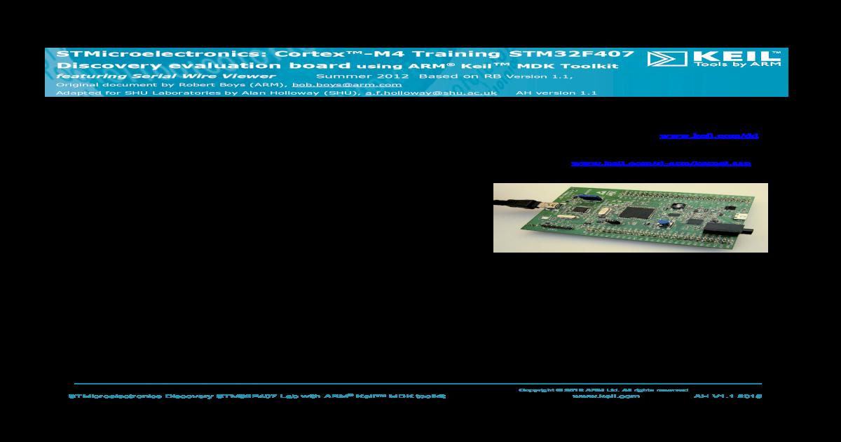 STMicroelectronics: Cortex-M4 Training STM32F407    aces shu