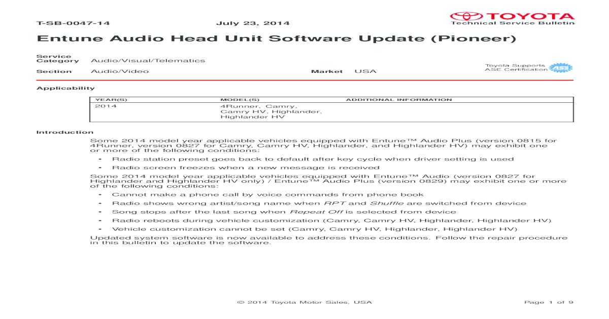Entune Audio Head Unit Software Update (Pioneer)media fixed