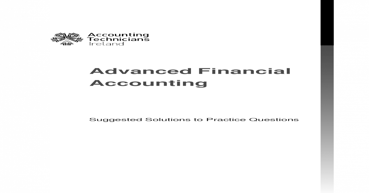 Advanced Financial Accounting - Tenjin 1900 Solution (a) The