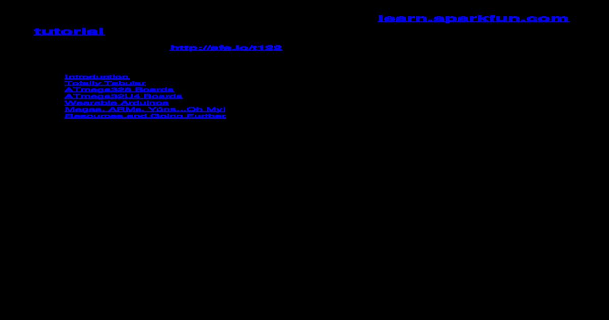 Arduino Comparison Guide - learn sparkfun Comparison Guide a