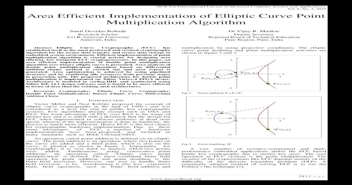 Area Efficient Implementation of Elliptic Curve Point     Efficient