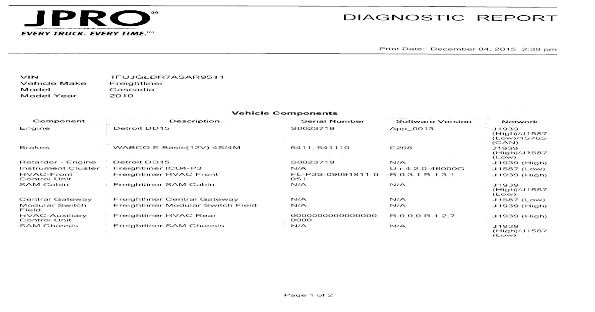JPRO DIAGNOSTIC REPORT - Heavy Equipment Auctions DIAGNOSTIC