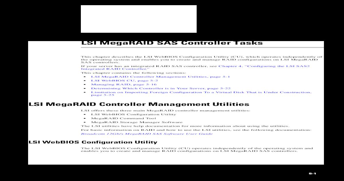 LSI MegaRAID SAS Controller Tasks - Global Home ??LSI MegaRAID SAS