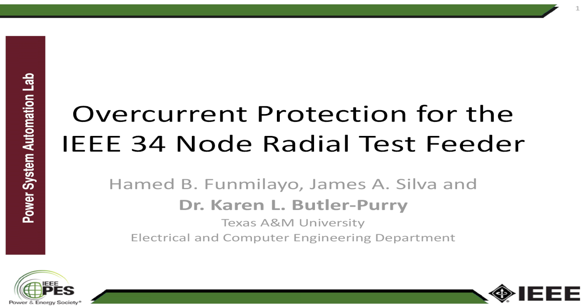 Lab IEEE 34 Node Radial Test Feeder Overcurrent Protection