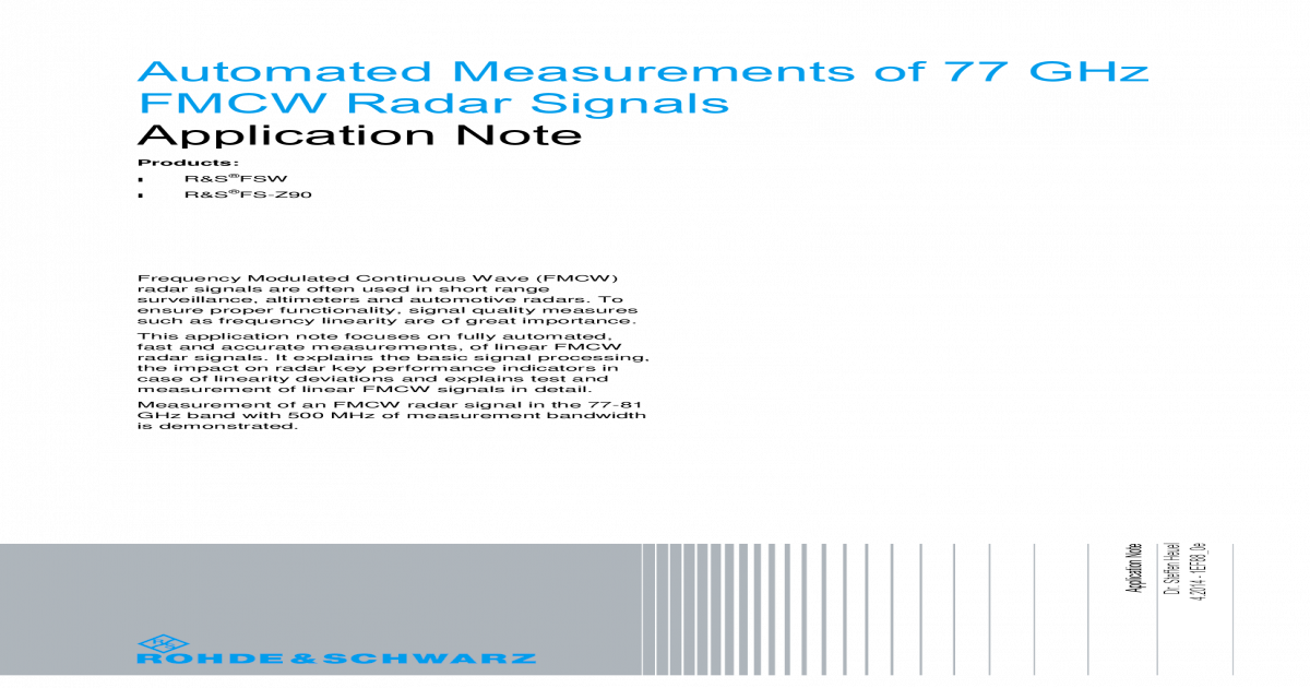 Automated Measurements of 77 GHz FMCW Radar Signals