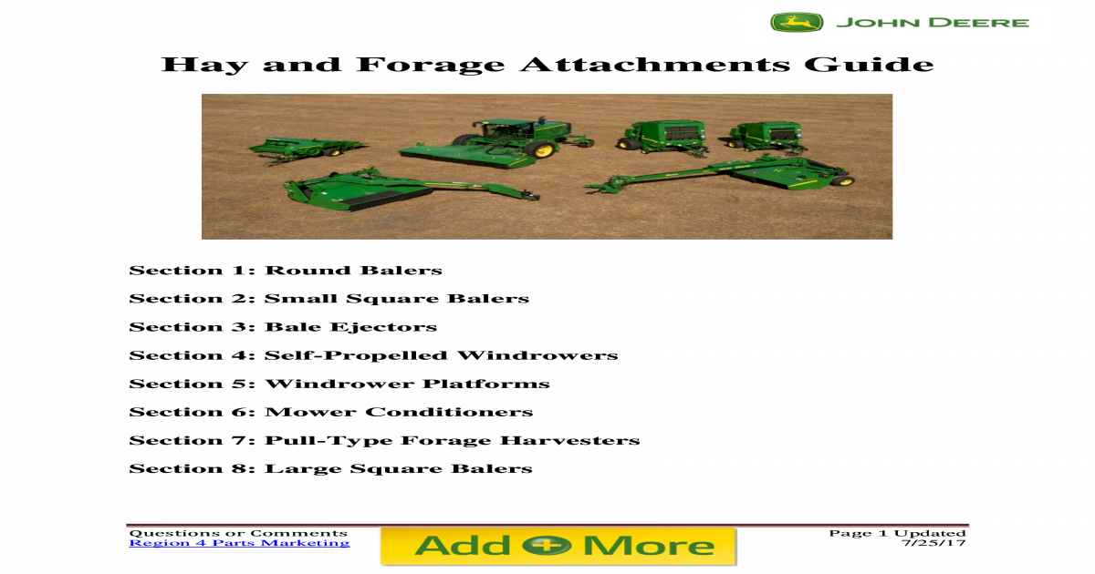 Hay and Forage Attachments Guide - John Deere and Forage