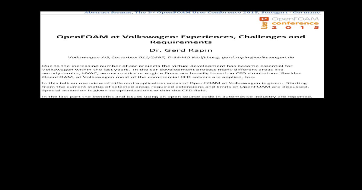 OpenFOAM at Volkswagen: Experiences, Challenges format, The