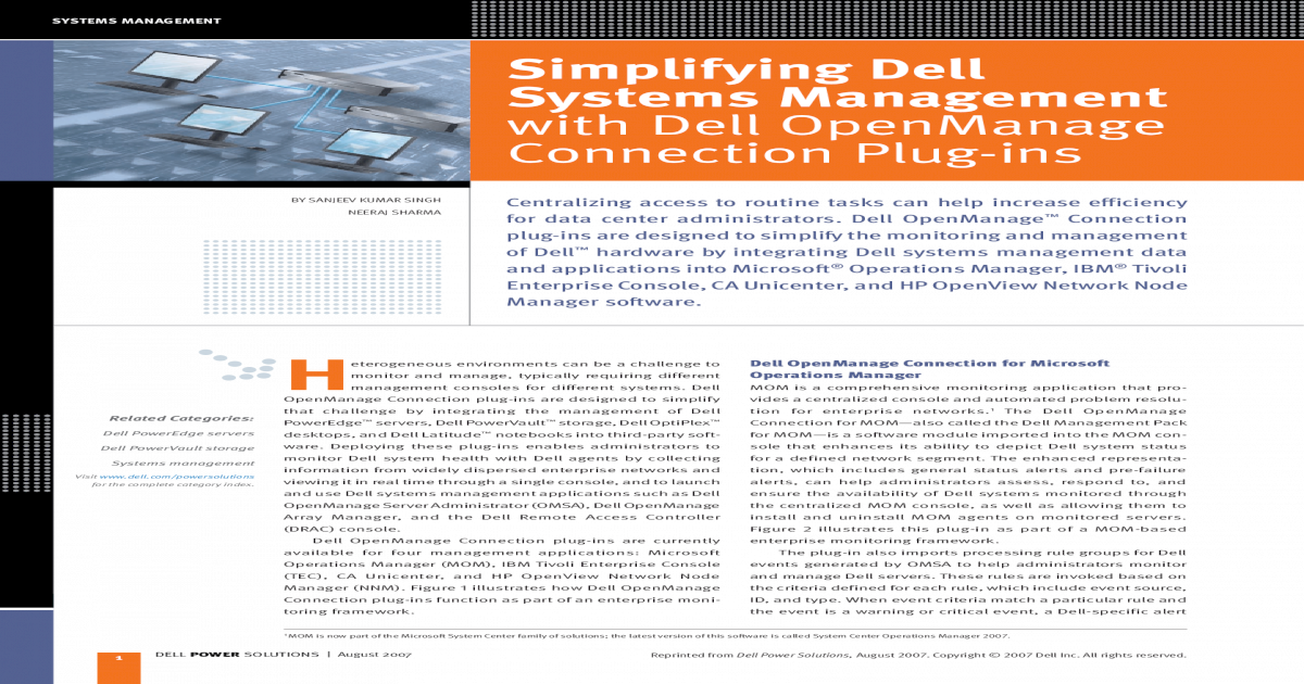 Simplifying Dell Import Systems Management corner art Dell hardware