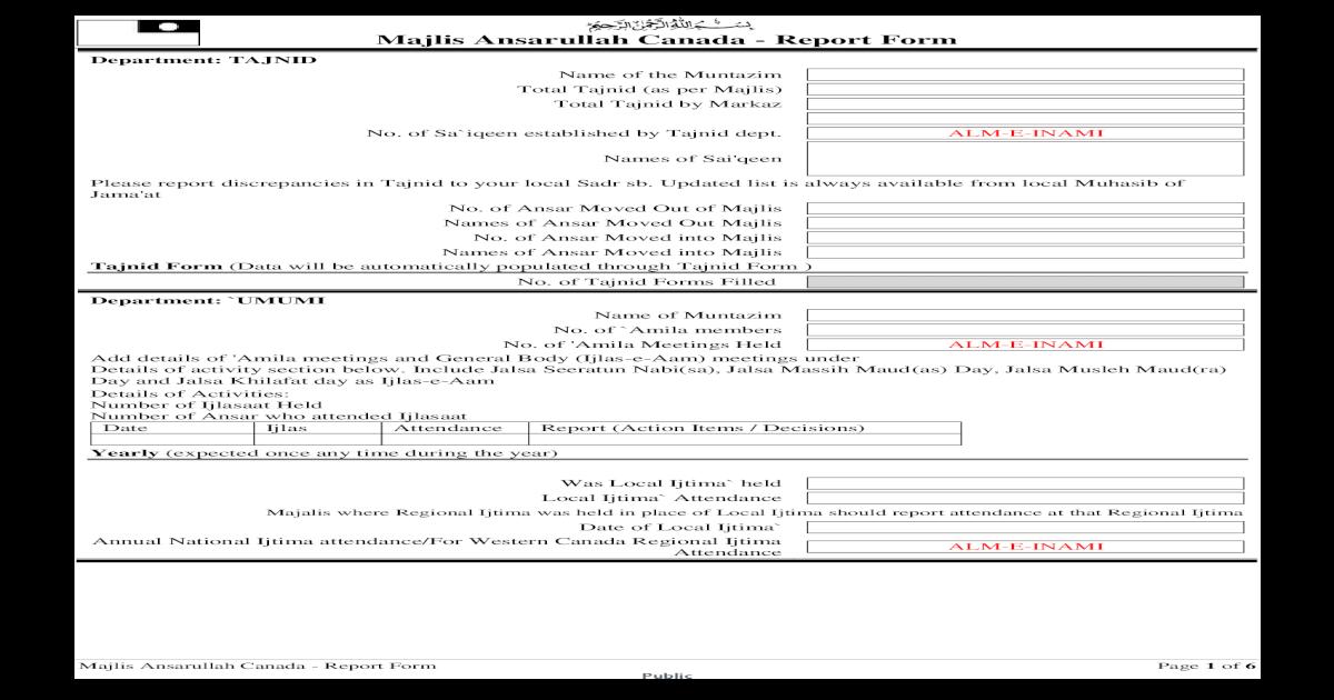 Majlis Ansarullah Canada - Report Form Ansarullah Canada - Report
