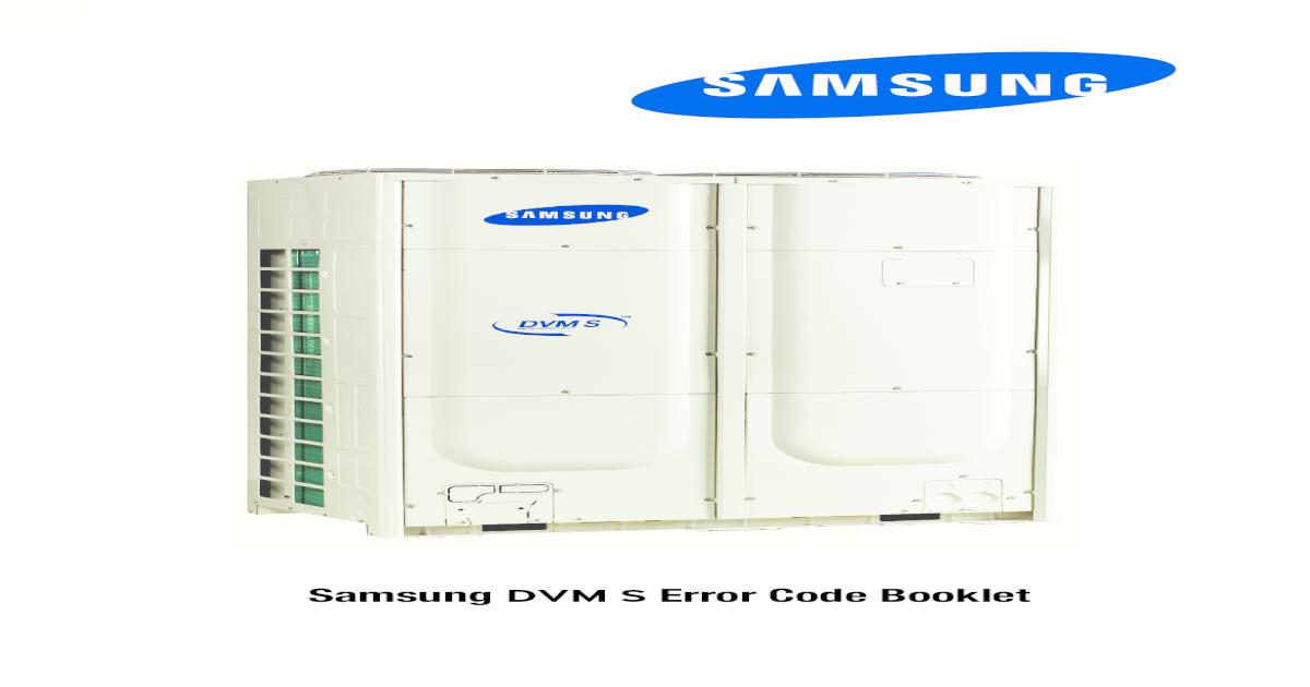 Samsung DVM S Error Code Booklet - S ServicSamsung DVM S