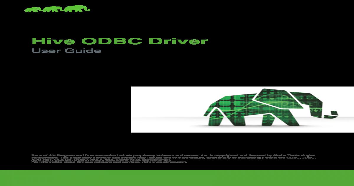 Hive ODBC Driver - Hortonworks ODBC Driver User Guide