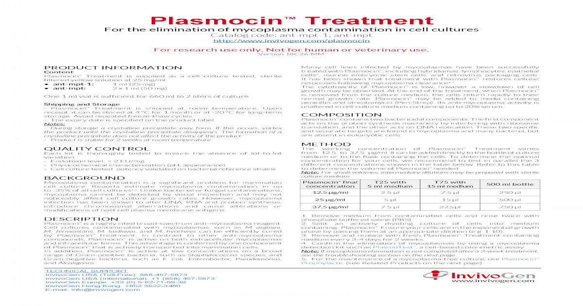 Plasmocin  Data sheet   ?? Treatment For the elimination of