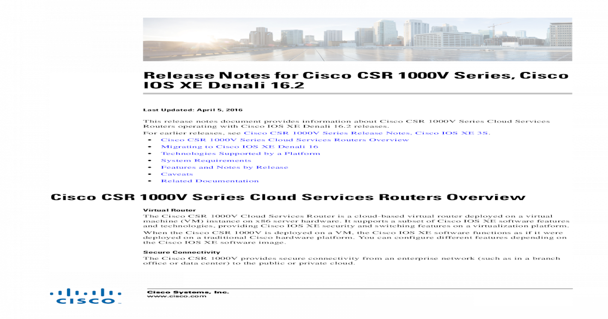Release Notes for Cisco CSR 1000V Series, Cisco IOS XE     Systems