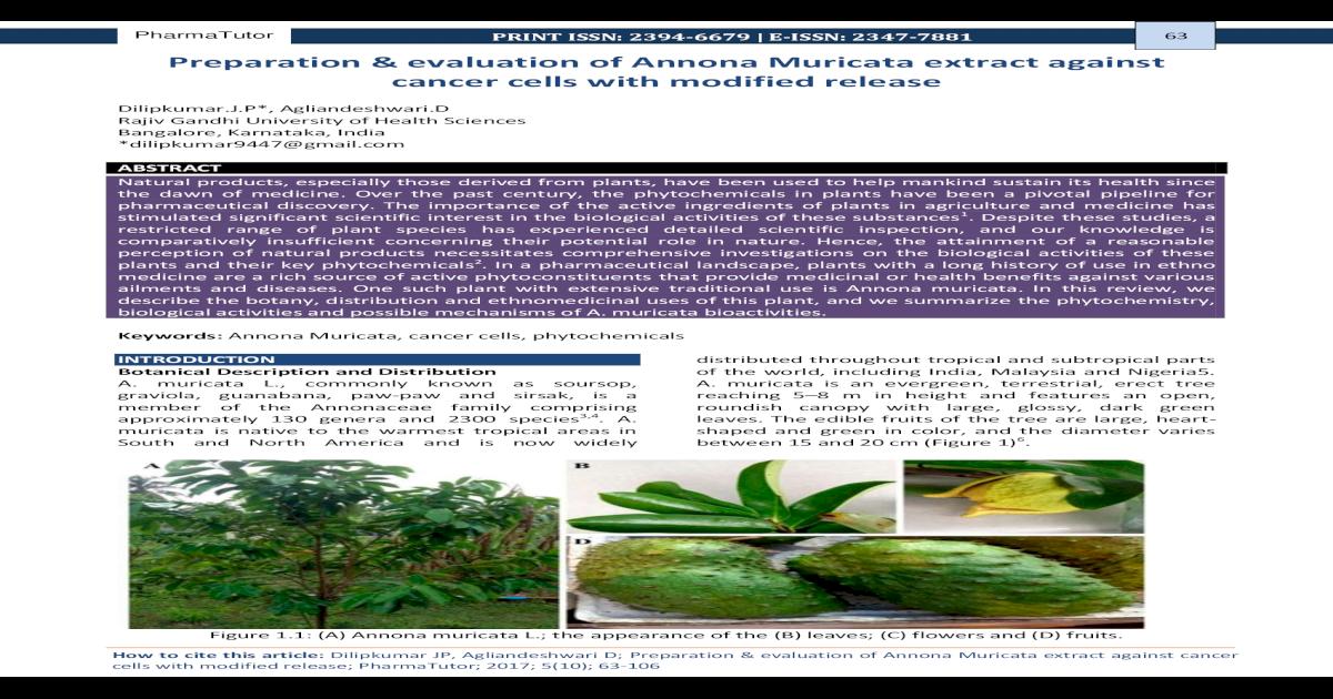 Preparation evaluation of Annona Muricata extract       5