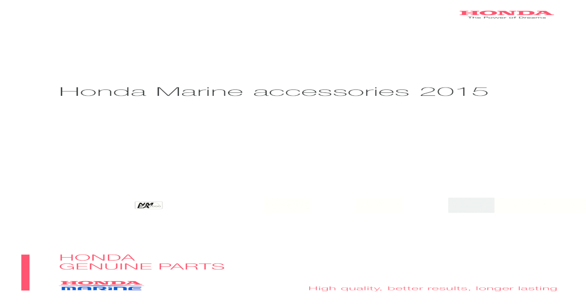 Honda Marine accessories 2015 - Marine accessories 2015 ... on