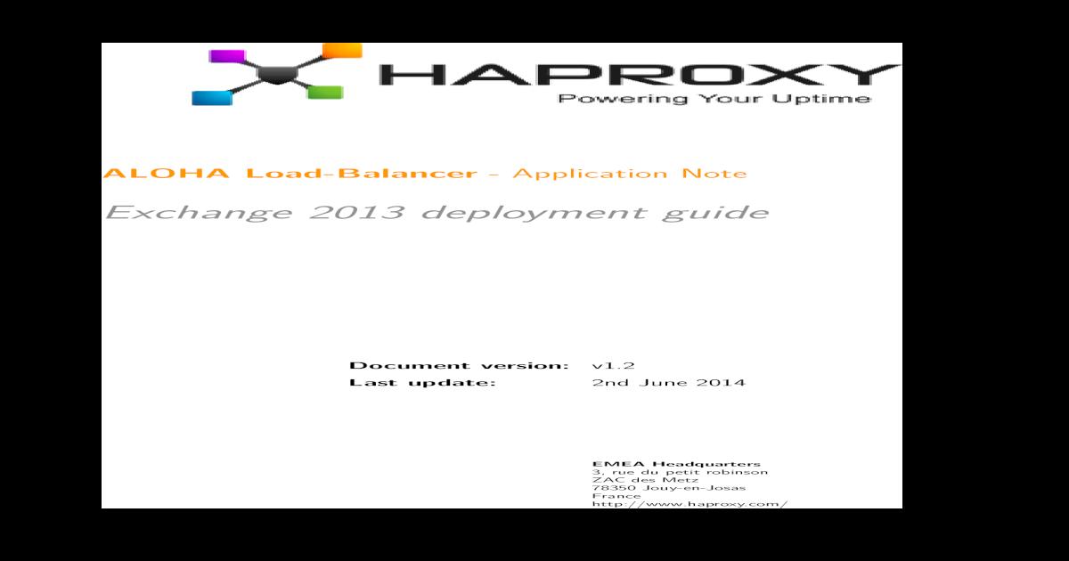 Exchange 2013 deployment guide - HAProxy Technologies 2013