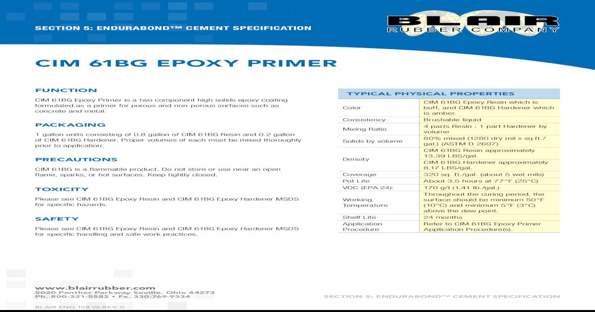 cim 61bG ePoxy Primer - 61BG Epoxy 61bG ePoxy Primer Section