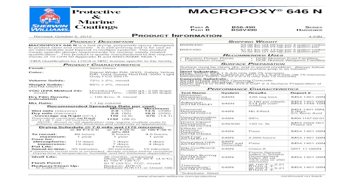 Protective MACROPOXY 646 N Marine Coatings ART Williams