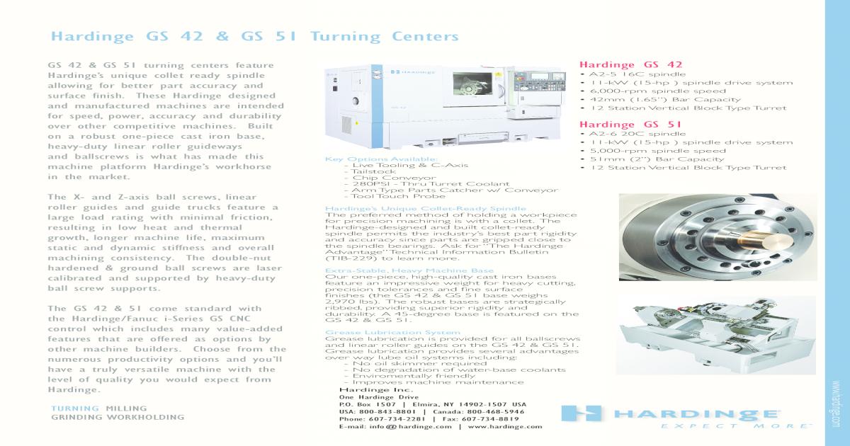 hardinge gS 42 gS 51 Turning hardinge /gE Fanuc 32-Bit oi-TC CnC